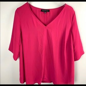 Eloquii pink blouse with tucked sleeves size 20